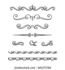 Set of vintage calligraphic vignettes, flourishes, decorative borders and divider elements in retro style, vector scroll embellishment on white