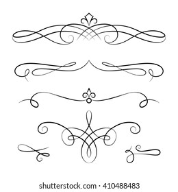 Embellishment images stock photos vectors shutterstock set of vintage calligraphic vignettes vector scroll embellishment on white stopboris Images