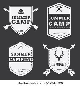 Set Of Vintage Camping Logo Badge Tag Badge Insignia White  Illustration Vector