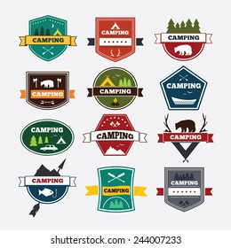 Set of vintage camping and outdoor activity logos. Vector logotypes and badges. National parks and nature exploration symbols.