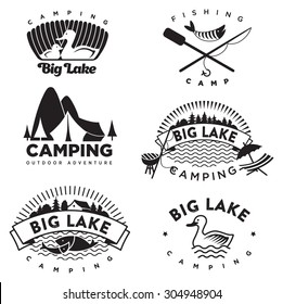 Set of vintage camping and outdoor logo's, emblems, labels design and elements. Vector.