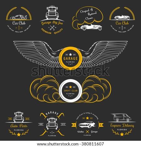 Set Vintage Car Club Drift Club Stock Vector Royalty Free