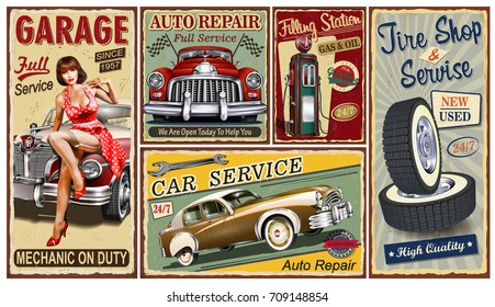 Set of vintage car  metal signs,Garage, Filling Station, Tire Service retro posters.