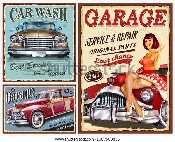 Set Vintage Car Metal Signsgarage Car Stock Vektorgrafik Lizenzfrei
