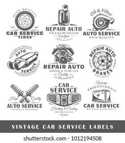 Set of vintage car service labels. Templates for the design of logos and emblems. Collection of car service symbols: tire, engine, muffler. Vector illustration