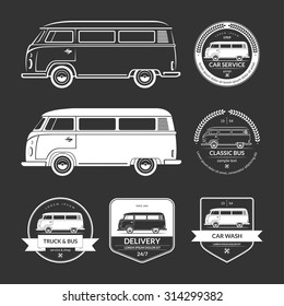 Set of vintage car service labels, emblems, logos, badges. Silhouettes of bus, minibus, van, minivan, wagon in retro style. White vector design elements isolated on black background
