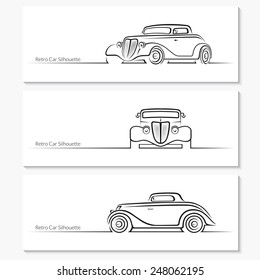 Set of vintage car silhouettes. Hot rod car in three angles. Vector illustration