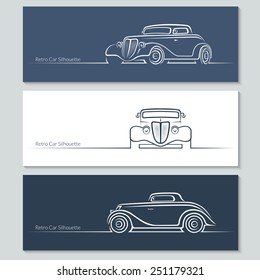 Set of vintage car silhouettes. Retro car in three angles. Vector illustration