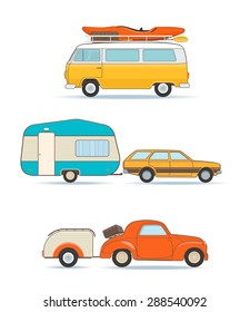 Set of Vintage Caravan and Cars