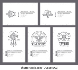 Set of vintage card templates in unique bohemian style with archaic elements. Bird totem collection of tags for handcrafted and exclusive products. Monochrome labels, black and white, geometric style