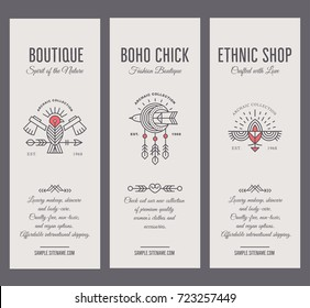 Set of vintage card templates in unique bohemian style with archaic elements. Bird totem collection of tags for fashion clothes. Ethnic shop or boutique labels, geometric line style