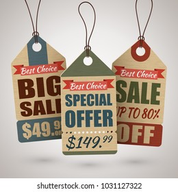 Set of vintage cardboard price tags or sale labels in retro style with special offers. Vector illustration