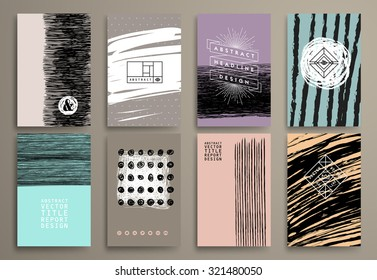 Set of Vintage  Cards with Hipster Textures. Retro Patterns for Covers, Placards, Posters, Flyers, Postcards and Banner Designs.