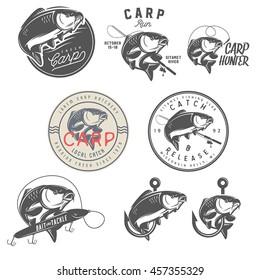 Set of vintage carp fishing emblems, labels, badges and design elements