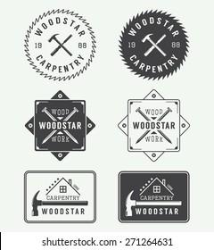 Set of vintage carpentry labels, emblems, badges and logo
