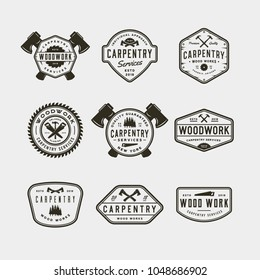 set of vintage carpentry logos. retro styled wood works emblems, badges, design elements, logotype templates. vector illustration