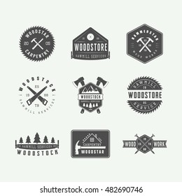 Set of vintage carpentry and mechanic labels, emblems and logo. Graphic Art. Vector Illustration.
