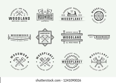 Set of vintage carpentry, woodwork and mechanic labels, badges, emblems and logo. Vector illustration. Monochrome Graphic Art.