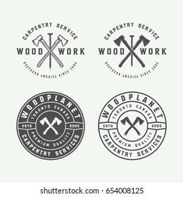 Set of vintage carpentry, woodwork and mechanic labels, badges, emblems and logo. Vector illustration. Monochrome Graphic Art.