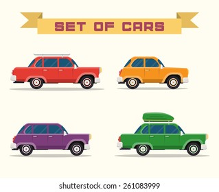 set with vintage cars, vector flat style