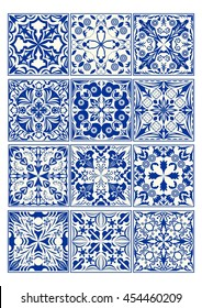 Set of vintage ceramic tiles in azulejo design with blue patterns on white background, traditional Spain and Portugal pottery, majolica