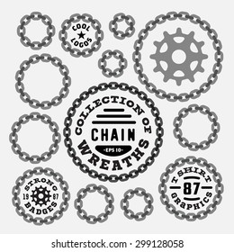 Set of Vintage Chain Wreaths Badges, Labels, Symbols, Borders, Frames - Design Elements. Collection of round shapes. Retro vector illustration isolated on white background