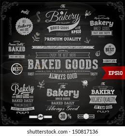 Set of vintage chalkboard bakery logo badges and labels for retro design