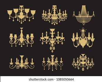 Set of vintage chandeliers isolated on black background. Vector lamp for interior, antique and luxury illustration