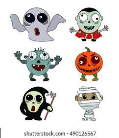 Set of vintage character for Halloween in cartoon style. Flat vector illustration isolate on a white background.