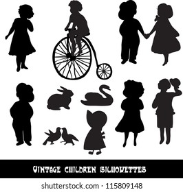 Set of vintage children and animals silhouettes