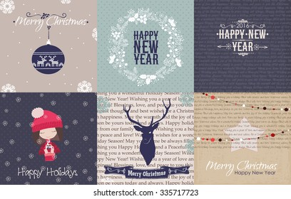 Set of vintage Christmas and New Year cards and printables. Christmas vector illustration