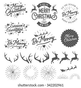 Set of vintage Christmas and New Year photo overlays and design elements