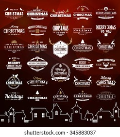 Set of Vintage Christmas signs, emblems - Vector design elements, business signs, labels, badges collection on abstract background design with triangles and town silhouette
