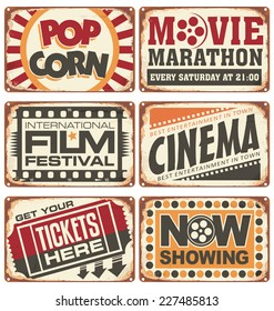 Set of vintage cinema metal signs. Retro movie creative vector design concept.