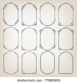 set of vintage circle frames with beautiful filigree, decorative borders, vector illustration