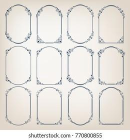 set of vintage circle frames with beautiful filigree, decorative borders, vector illustration