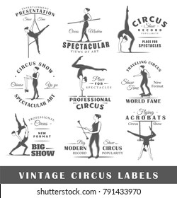 Set of vintage circus labels. Templates for the design of logos and emblems. Collection of circus symbols: trapeze, acrobatic, trick. Vector illustration