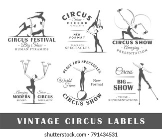 Set of vintage circus labels. Templates for the design of logos and emblems. Collection of circus symbols: human, acrobatic, trick. Vector illustration