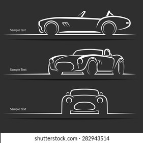 Set of vintage classic sports car silhouettes, outlines, contours  isolated on dark background. Vector illustration