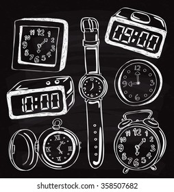 Set of vintage clock and wristwatch doodle on chalk board