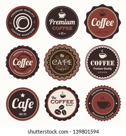 Set of vintage coffee badges and labels.