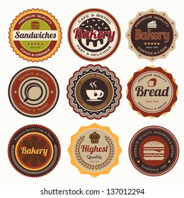 Set of vintage coffee and bakery badges and labels.