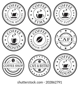 Set of vintage coffee stamps, stickers, labels and badges, design elements, black isolated on white background, vector illustration.