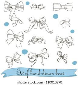 set of vintage colorless bows. Vector illustration EPS8