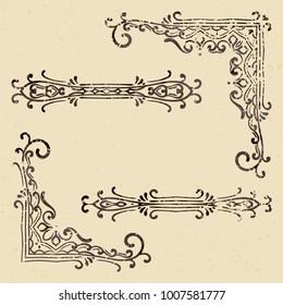 Set of vintage corners and dividers in grunge style. Elegant hand drawn retro border. Design element for wedding invitation or menu, banner, postcard, save the date card. Vector illustration.