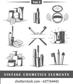 Set of vintage cosmetics elements isolated on white background. Logo design. Vector illustration
