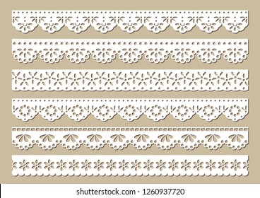 Set of vintage cotton lace eyelets, decorative ornaments for fabric borders