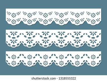 Set of vintage cotton lace eyelets, decorative ornaments for fabric borders, paper cut out design