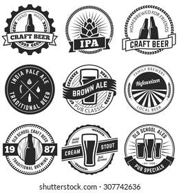 Set of vintage craft beer labels and emblems