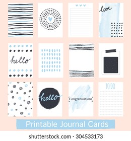 Set of Vintage Creative Cards with Hand Drawn Textures. Templates for Placards, Posters, Flyers and Banner Designs, Printable Journals Card. Vector